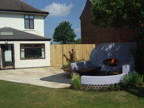 Garden Snug With Eliptical Fireplace Queniborough Leicestershire